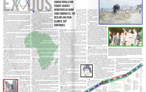 WINNER: Margo Feuer of Shalhevet High School in Los Angeles created the page design for Eric Bazak's story on Jewish emigration from South Africa, which won 2nd Prize in the JSPA's second annual scholastic journalism competition.