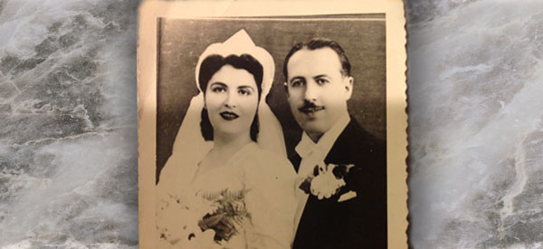 Shirley Honig Goldman, shown in her wedding portrait,  is the grandmother of  First Prize winner Deena Abittan.  Mrs. Goldman, shown with her husband Harry Goldman, was a defender of Thanksgiving. Courtesy of Deena Abittan