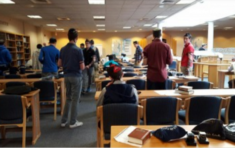 SIMILIARITIES: Students at the Rae Kuskner Yeshiva High School in New Jersey all pray together in one minyan.
