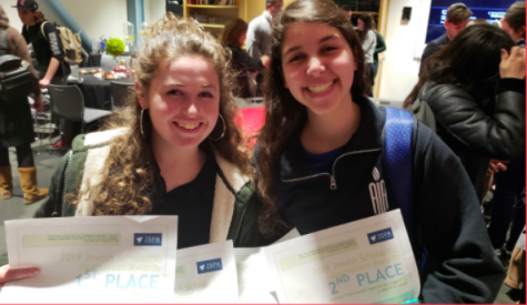 WINNERS: Eliana Goldin and Chloe Karpel of Atlanta Jewish Academy displayed their awards on Page 12 of The Palette, in a story on JSPA
