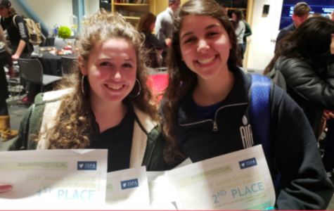 WINNERS: Eliana Goldin and Chloe Karpel of Atlanta Jewish Academy displayed their awards on Page 12 of The Palette, in a story on JSPA's 2019 annual conference in Los Angeles.