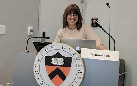 Nechumi Yaffe giving a talk at Princeton. She starts at Tel Aviv University next month. Photos courtesy of Nechumi Yaffe